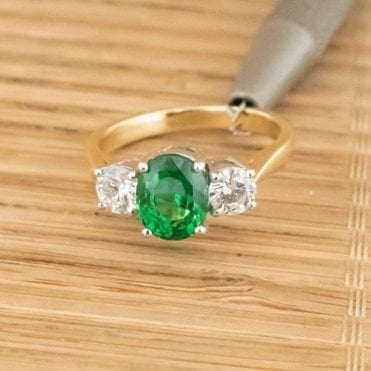 18ct Gold 2.39 Natural Tsavorite and 0.75Ct Diamond Trilogy Ring