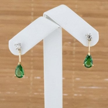 18ct Gold 3.79 Ct Natural Tsavorite and 0.53 Ct Diamond Earrings