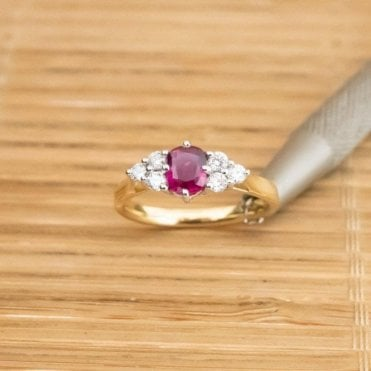 18ct Gold Untreated Natural Ruby and Diamond Ring