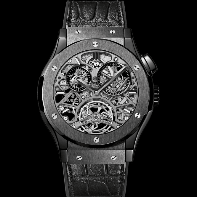 Hublot Classic Fusion Tourbillon Skeleton All Black 45 mm - Unworn with Box and Papers